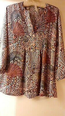£9.50 • Buy Ladies Top Blouse Size 20 Autumn Colours Patterned Fabric Long Sleeve Damart