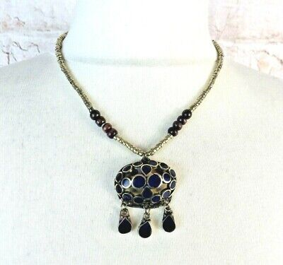 £22.99 • Buy Stunning Vintage Native American Indian Blue Silver Bead Pendant Necklace Chic