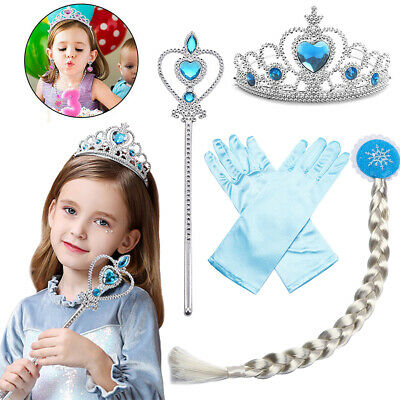 £7.29 • Buy Girls Princess Elsa Dress Up Party Cosplay Accessories Wig Gloves Wand Crown Set
