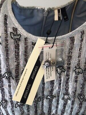 £14.99 • Buy Topshop Embellished Beaded Chiffon Silver/grey Blue Occasion Dress Size 6 NWT