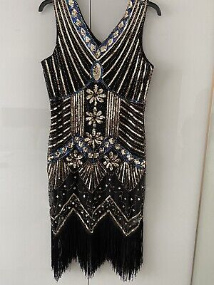 £10.50 • Buy 1940s Flapper/gatsby Sequin Style Dress X Large
