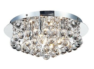 £28 • Buy Am-Light Ceiling Light With Crystal Droplets, Chrome Finish For Living Room.