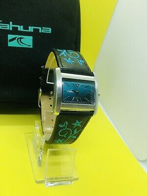 £12.99 • Buy LADIES /GIRLS Black Teal STITCHED LEATHER  STRAP  WATCH  NEW