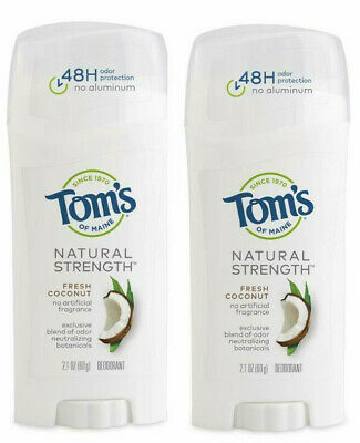 £10.99 • Buy 2 Pack Toms Of Maine 48-Hr Natural Strength Deodorant Stick Fresh Coconut 2.1 Oz