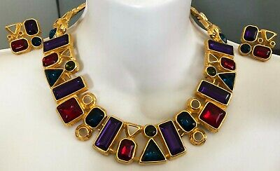 £9.80 • Buy Vintage Trifari Chunky Gold Red Green Purple Lucite Necklace Earrings Set