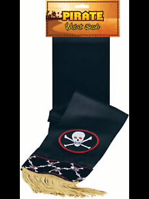 £6 • Buy Adult Unisex Fancy Dress Party Accessory Deluxe Pirate Skull Print Waist Sash UK