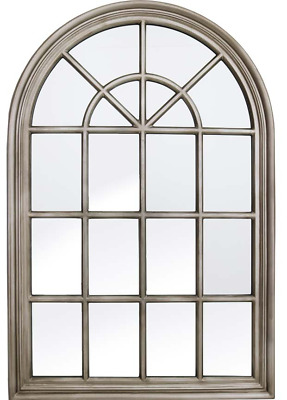£179.99 • Buy Very Large Metal Antique Silver Arch Window Metal Frame Mirror 120cm Tall X 80cm