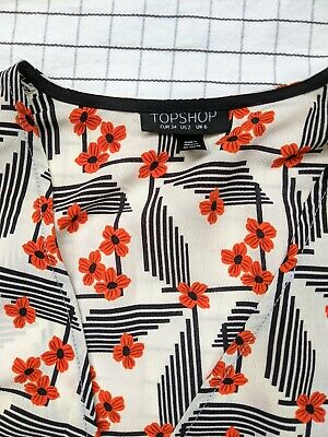 £3 • Buy Topshop Kimono Style Wrap Top Japanese Geometric Style Fabric 6 Would Fit 8