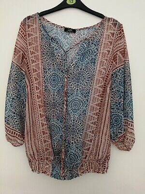 £1.30 • Buy WALLIS Ethnic Print Top Size 12 More Of A Size 14