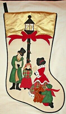 £7.20 • Buy  Appliqued Christmas Stocking 17  Caroler Family Lamppost Ivory Gold Top Band