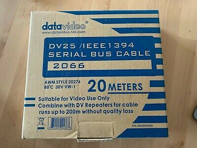 £25 • Buy Datavideo 20m DV / IEEE1394 FireWire Serial Bus Cable 2066