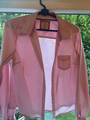 £2.99 • Buy H&M Logg Pink & White Shirt Eur 40 Fits Size 10 Button Front Vgc