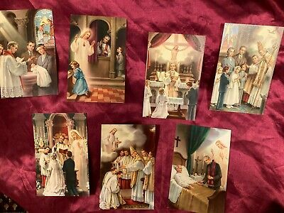 £5.99 • Buy Catholic Vintage Seven Sacraments Prints Made In Italy Collection Lot Catholic