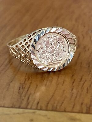 £74 • Buy Ladies 9ct Gold Coin St Georges Signet Pinky Ring ~ Q ~ Fab