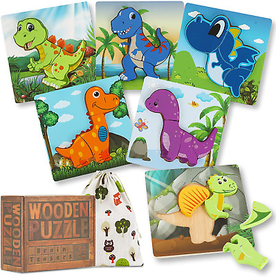 £17.22 • Buy Wooden Jigsaw Puzzles, Wooden Jigsaw For 3 Years+ Old, Dinosaur Toys For Boys, &