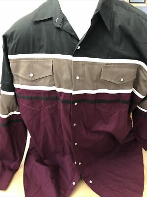 £7.32 • Buy Express Riders Pearl Snap Western Long Sleeve Button Shirt Men's Size 3xl.no Res