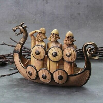 £0.72 • Buy Dragon Boat Resin Craft Home Ornaments Room Decoration Vikings New Figure Statue