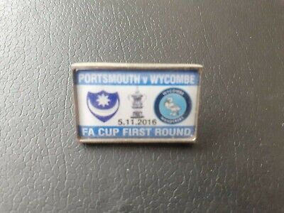 £2.10 • Buy Portsmouth V Wycombe Matchday Enamel Pin Badge (05/11/2016  Fa Cup 1st Round).
