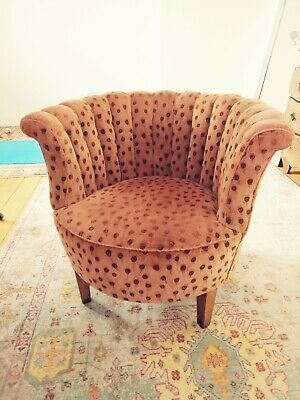 £199 • Buy Antique Round Tub Scallop Armchair Chair Peacock Feather Upholstered Pink Velvet