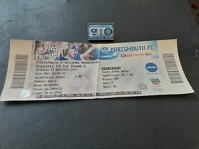 £3.10 • Buy  Portsmouth V Wycombe Matchday Badge & Ticket (05/11/2016 - Fa Cup 1st Round)