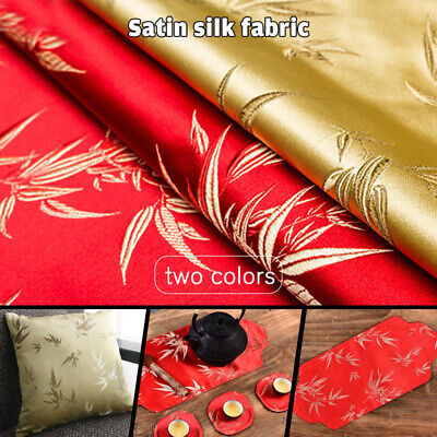 £7.94 • Buy Faux Silk Chinese Bamboo Print Fabric For Sewing Tablecloth Dress Craft By Meter