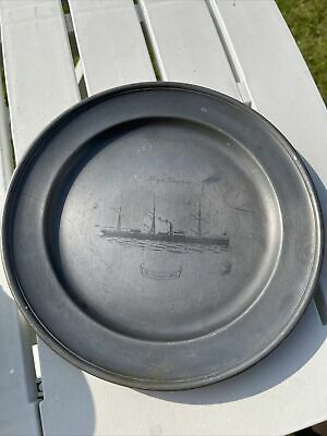 £5 • Buy Vintage Etain Pewter Plate Lloyd Triestino Shipping Ship Etched