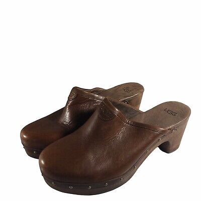 £29.24 • Buy UGG Brown Leather Women 10 Clogs Myles Stacked Heels Shoes