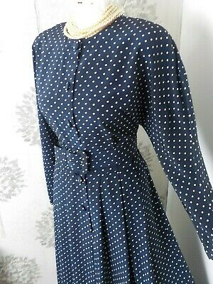 £10 • Buy St Michael Navy Polka Dot Button Front Pleated Midi Tea Dress 12-14 Perfect Cond