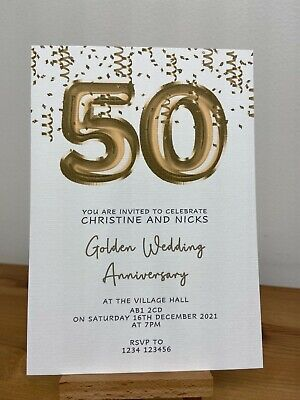 £4.50 • Buy 10x Personalised Golden 50th Wedding Anniversary Invitations Foil Balloons,