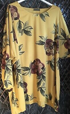 £1.99 • Buy Ladies Made In Italy Long Top In Mustard/Yellow Floral Print One Size