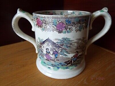 £24 • Buy A Mid Victorian Transfer Printed Two Handled Loving Cup / Cider Mug.