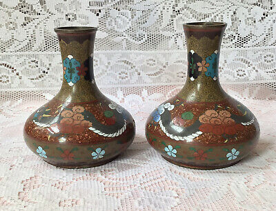 """£150 • Buy Antique Chinese Cloisonne Dragon Vases Pair, Height 13cm (5"""")"""