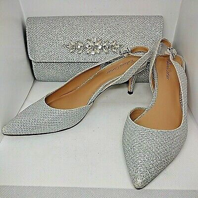 £46 • Buy Roland Cartier Silver Diamante Shimmer Shoes And Bag Size Uk 7 Eur 40