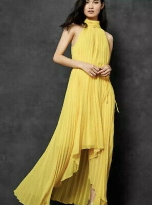 £35 • Buy Ted Baker Yellow Pleated Dress Nadette Size 3 (12/14) Worn Once