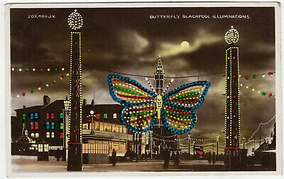 £1 • Buy BLACKPOOL ILLUMINATIONS - The Butterfly - 1930 Used Real Photo Postcard