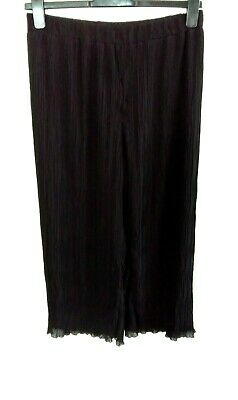 £7.99 • Buy RIVER ISLAND Black Pleated Crop Palazzo Trousers Size 16 Leg = 25