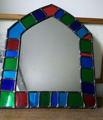 £18 • Buy Stained Glass Arch Gothic Mirror Small Window Foiled Red Blue Green Purple