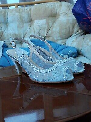 £9.99 • Buy Silver Jewelled  3  Mid Heel Slingback Peep Toe Shoes BNWTS And Boxed Size 4UK