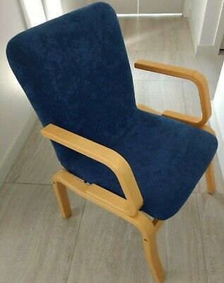 AU174 • Buy Set Of 3 (one With Arms) Custom-made Fabric Dining Chairs - Navy Blue