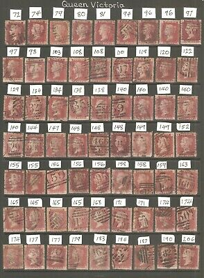 £10 • Buy GB Stamps. Queen Victoria. 63  Penny Red Stamps, Plates As Scanned.