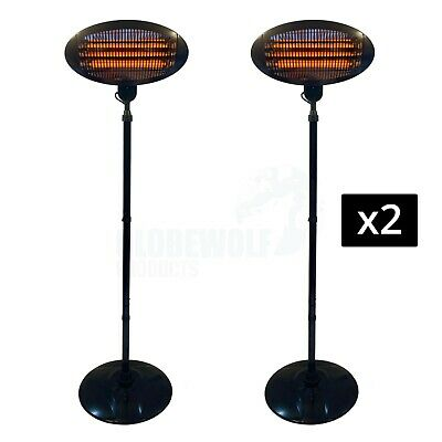 £94.75 • Buy 2 NEW Electric Patio Heaters Outdoor Garden Heating Free Standing Outside Heater