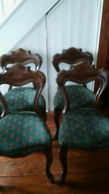 £110 • Buy Set Of 4 Victorian Chairs, Newly Upholstered
