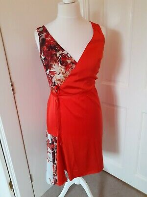 £12.80 • Buy Paul Smith Silk Dress Size 42/14, Orange And Pattered With Tie Belt.