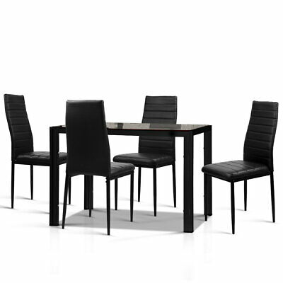 AU291.93 • Buy Artiss Astra 5-Piece Dining Table And Chairs Sets - Black/White