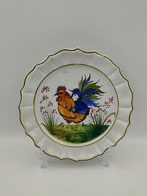 £14 • Buy Antique /Vintage Faience Pottery Wall Plate, Hand Painted Hen Decoration, Signed