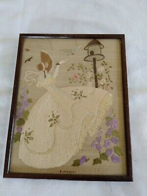 £14.50 • Buy Vintage CRINOLINE LADY Hand Embroidered Framed Picture Panel 1940's