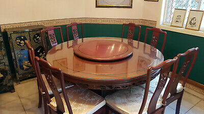 AU800 • Buy Oriental Carved Rose Wood Dining Table With Chairs