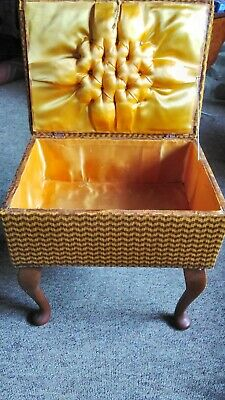£28 • Buy Vintage 70s Gold/Brown Sewing Box Stool Retro Moulded Legs Padded Silk Lining
