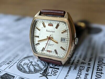 £69.95 • Buy Gents Vintage Accurist Baton Cushion Gold Plated Date Function Watch - Working