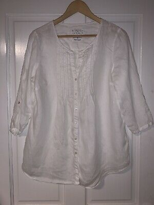 £2.99 • Buy Marks And Spencer Pure Linen Pleated 3/4 Sleeve White Blouse UK 14